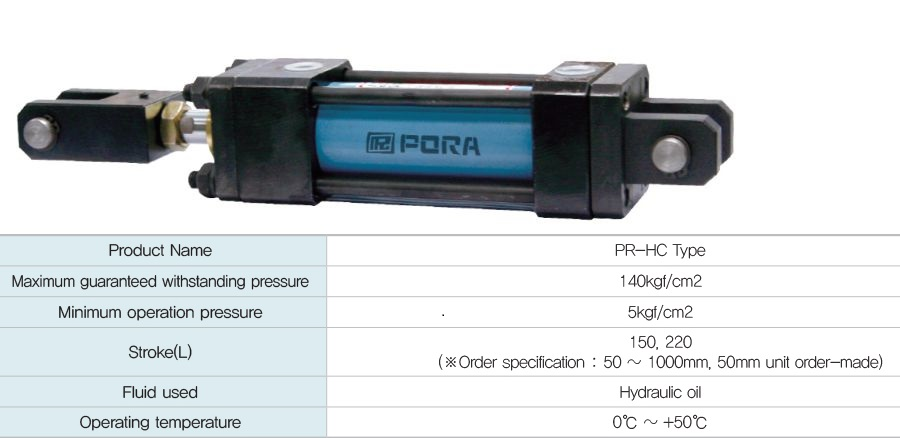 PR-HC100-100 PORA xy lanh thủy lực, PR-HC TYPE